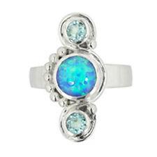 Offerings Sajen 925 Sterling Silver Sky Blue Topaz & Created Opal Ring Size 7