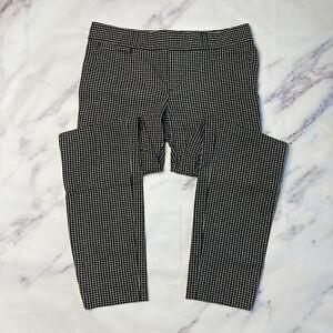 Banana Republic Sloan Dress Pants Womens Sz 2 Black White Check Plaid Slim L110