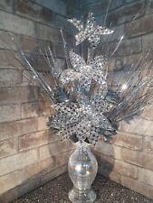 Artificial Silk Flower Arrangement Silver Flowers in Mirror  Vase WHITE  LIGHTS