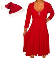 KHS@ Funfash Plus Size Women Red Holiday Season Christmas Santa Hat A Line Dress
