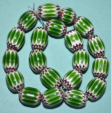 Venetian Green Red & White Glass Italian Drawn Cane Chevron Beads Venice, Italy