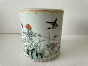 Chinese antique porcelain famille rose flower and bird pen holder