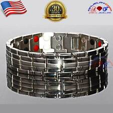 PURE TITANIUM BIO ENERGY 42X MAGNETIC BRACELET MEN SILVER 4IN1 +ADJUSTER T03S