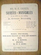 Concert 1887-Mr W H Shore's Soirees Musicales by A Walker, A Burgess,H D Herring