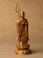 20CM Chinese Resin Buddhism Tang Monk Ksitigarbha Boddhisattva Buddha Statuary