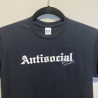 AntiSocial Tshirt Black Short Sleeve Gildan Cotton Introvert Graphic Print