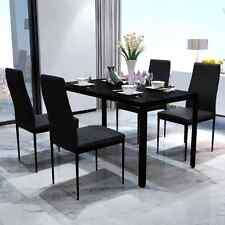 Kitchen Dining Table and Chairs Set Modern Black Dining Room Furniture Glass Top