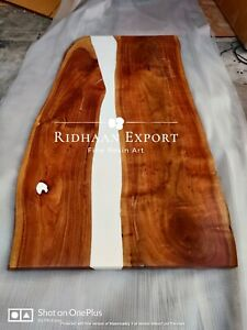 72x36 Inch Epoxy Resin Solid Wood Dining Table / Coffee Table 35MM Thickness