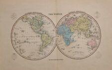 1858 ANTIQUE HAND COLOURED MAP WORLD WESTERN & EASTERN HEMISPHERE AMERICA ASIA