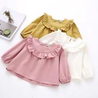 Baby Kids Girls Long Sleeve Solid Soft Toddler Kids Tops T-Shirt Warm Clothes