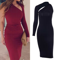 Women Bandage Bodycon One Shoulder Evening Party Cocktail Club Midi Pencil Dress