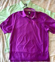 FootJoy Polo Golf Shirts Size Large Mint! Lot of 2 Fuchsia Green