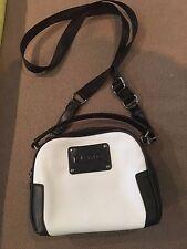 Navy Blue & White Leather Cross Body Shoulder Bag (Brand - L.A.M.B.)