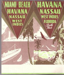 CUBA NASSAU WEST INDIES FLORIDA VINTAGE ART DECO TOURIST TRAVEL BROCHURE