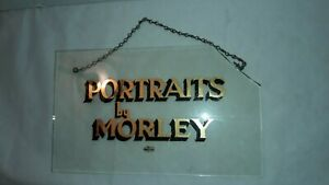Store Hanging Glass Sign, Photo Studio Sign, Circa 1940s-50s,  Broke Corner
