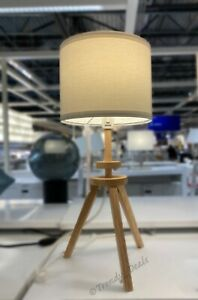 """Ikea LAUTERS Table Lamp Modern Tripod Solid Wood, Ash/White 22"""" - NEW"""