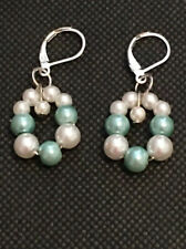 White & Pale Aqua Pearlized Beaded Earrings - Sterling Silver Clasps (S5)