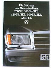 Prospekt Mercedes W 126 260 SE,300 SE/L,420 SE/L,500 SE/L,560 SEL 6.1986, 44 S.