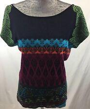 IVKO Women's Sz 42 Semi-Sheer Neck Panel Dolman Sleeve Multi-Color Oriental Top