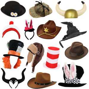 BOOK CHARACTERS HATS SCHOOL BOOK WEEK FANCY DRESS ACCESSORIES ADULTS CHILDS