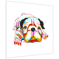 Colourful Cute Bulldog Puppy on Framed Canvas Pictures Animal Wall Art Prints