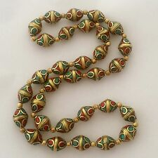 """Turquoise Coral Beads Strand Necklace 24"""" Brass Tibetan Nepalese Handmade N2317"""