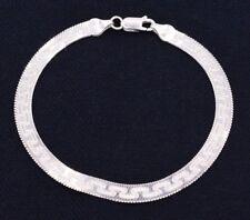 5mm Reversible Herringbone Greek Bracelet Real Solid Sterling Silver 925 Italy