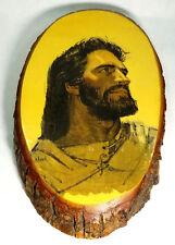 """Vintage Jesus Wood Decoupage """"Jesus Face"""" Art Print On Pine Wood Slice"""