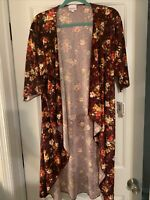LuLaRoe Shirley Small Elegant Kimono Burgundy With Flowers New With Tags