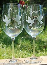 2 Hochzeitsgläser Weingläser mit Gravur ECHT HANDGESCHLIFFEN Hochzeit