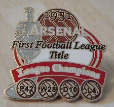 ARSENAL Victory Pins 1931 LEAGUE CHAMPIONS Danbury Mint badge 1st TITLE WIN