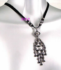 Deco Vintage Chic Baroque Wave Chandelier Necklace Pendant w/ Swarovski Crystals