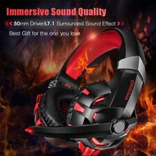 K2 Red Surround Gaming Headset Headphone Headband Microphone USB For PC XBOX ONE