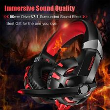 K2 Red Surround Gaming Headset Headphone Headband Microphone For PC XBOX ONE