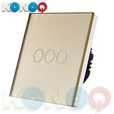 KONOQ Luxury Glass Panel Touch LED Light Wall Switch : ON/OFF, Gold, 3Gang/1Way