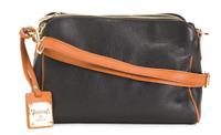 VALENTINA Genuine Leather Triple Entry Crossbody Handbag Made In Italy MSRP $169