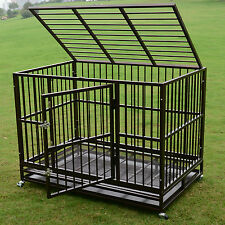 """3Xl 48"""" Metal Folding Dog Cage Crate Kennel Pet Playpen w/Tray&Wheels Heavy Duty"""