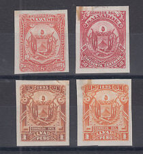 Salvador Sc 120, 127, 128 MNG. 1895 Coat of Arms TCP-s on India Ppaer, 4 diff