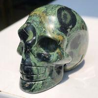 1PCS-Natural Peacock Eye Stone Quartz Crystal Sculpture Skull Hand Reiki Healing