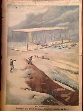 PRIMO VOLO DI UN NUOVO AEROPLANO a Kitty-Hawk Carolina del Nord xilografia 1904