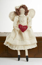 Primitive Country Rustic Valentine Angel Rag Doll With LOVE Heart