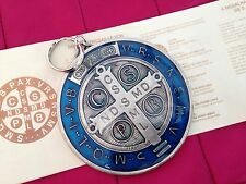 "LARGE  SAN BENITO Medal ST SAINT BENEDICT MEDALLION XXL 3""silver Tone BLUE Resin"