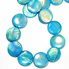 MP2543L Blue AB 20mm Flat Round Coin Mother of Pearl Gemstone Shell Beads 14""
