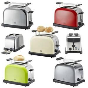 Toaster Edelstahl 2 Scheiben Retro Rot Creme Grün Bräunungskontrolle Aufsatz