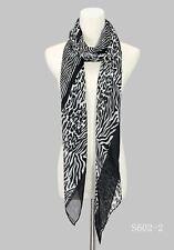 Women's New Long Design Leopard & Zebra Print  Scarf  Multi Color Lightweight