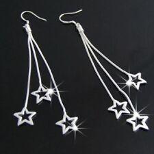 Cute New Sterling Silver Plated Long Triple Star Snake Chain Dangle Earrings