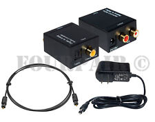 Digital Coax or SPDIF Optical Toslink to Analog L/R RCA Audio Converter Adapter