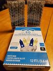 Blue/white String Of Lights And 2 Sets Silver Icicle Ornaments