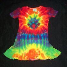 Organic Cotton Tie Dye Little Girl's Dress Rainbow Sunburst 2T Hand Tye Dyed