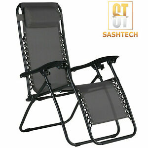 Zero Gravity Chair Recliner Outdoor Chair Reclining Garden Sun Lounger Portable